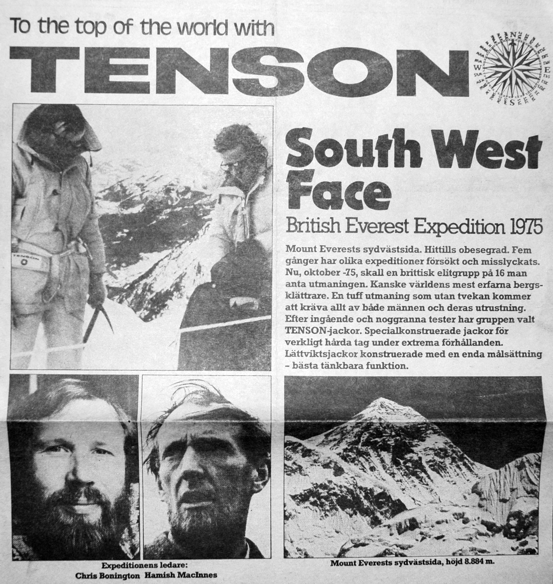 SOUTH WEST FACE - British Everest Expedition 1975 - TENSON